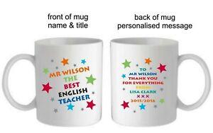 PERSONALISED KEEP CALM TEACH TEACHER TUTOR MUG//COASTER END OF TERM SCHOOL GIFT