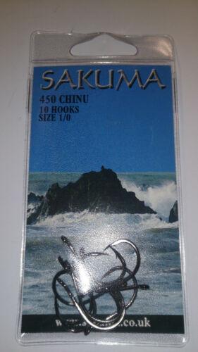Sakuma CHINU 450 Sea Fishing Hooks Toutes Les Tailles Packs de années 10