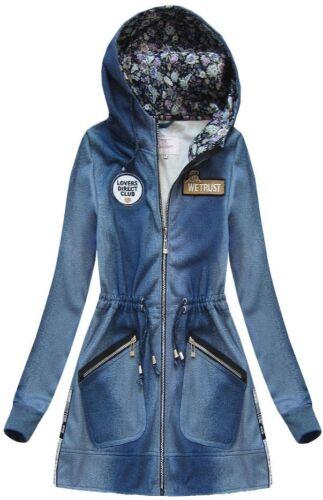 Damen Kapuzenpullover Sweatshirt Hoodie Pullover Sweatjacke Jeansbluse NEU J7801