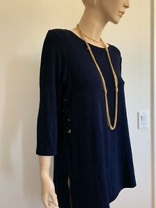 CHICO-039-S-SIZE-3-XL-NAVY-BLUE-LACE-UP-STUDDED-3-4-SLV-ASYMMETRIC-TUNIC-TOP