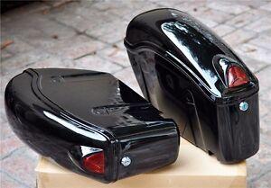 Black Saddlebags Saddle Bag Side Hard Case w/ lights for Kawasaki Vulcan FY