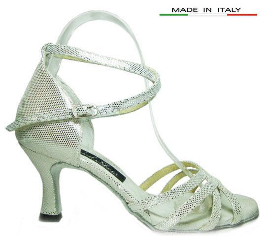 MONDIAL zapatos 05 salón de baile Sandaleeias mujer talón 70/R plata piel abierto