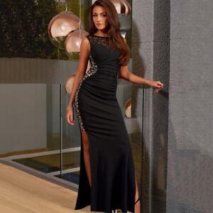 brand new 47d67 36a15 Dettagli su vestito lungo abito tubino elegante nero evento sera sensuale  spacco 4884