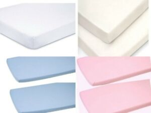 2 x Cot Bed Fitted Sheets 100/% Cotton Soft Jersey Fitted Sheets 70 x 140 cm