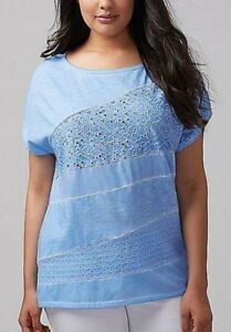 Womens-Pus-Size-22-24-26-28-3X-4X-COTTON-CHIC-Tee-Top-BLUE-Lane-Bryant-NWT