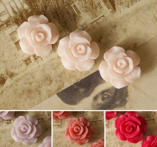 10x Resin Kunstharz Cabochons Blumen zum Kleben Schmuck DIY Farbwahl 13mm
