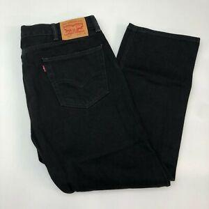 Levi-039-s-505-Denim-Jeans-Mens-40X30-Black-Regular-Fit-Straight-Leg-Cotton-Washed