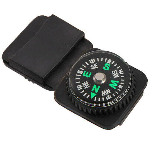 Mini Boussole de Survie pour Bracelet Outdoor Randonnée Orientation Noir Camping