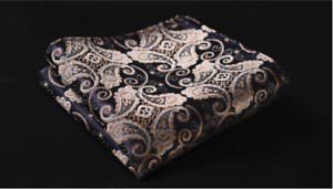 Silk Pocket Square Blue and Gold Floral Paisley Wedding Handkerchief
