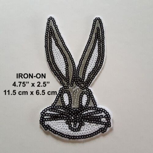 SILVER Rabbit Easter Bugs Bunny Disney Sequins Embroidery Iron On Applique Patch