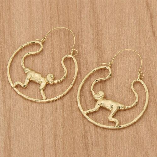 Monkey Design Alloy Earring Hoop Gold Lady Dangle Drop Ear Stud Creative Jewelry