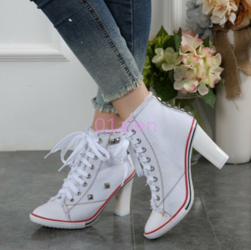 Womens Rivet Metal High Block Heel Denim Canvas Hi Top Sneakers Heels Spring New