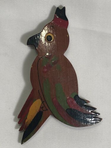 1940s PAINTED WOOD TROPICAL BIRD BROOCH