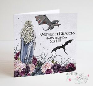 Game of thrones daenerys mother of dragons birthday card ebay image is loading game of thrones daenerys mother of dragons birthday m4hsunfo