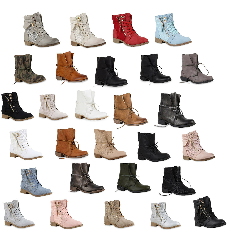 Klassische Damen Worker Boots Stiefeletten Stiefel 96433 Gr. 36-42 Schuhe
