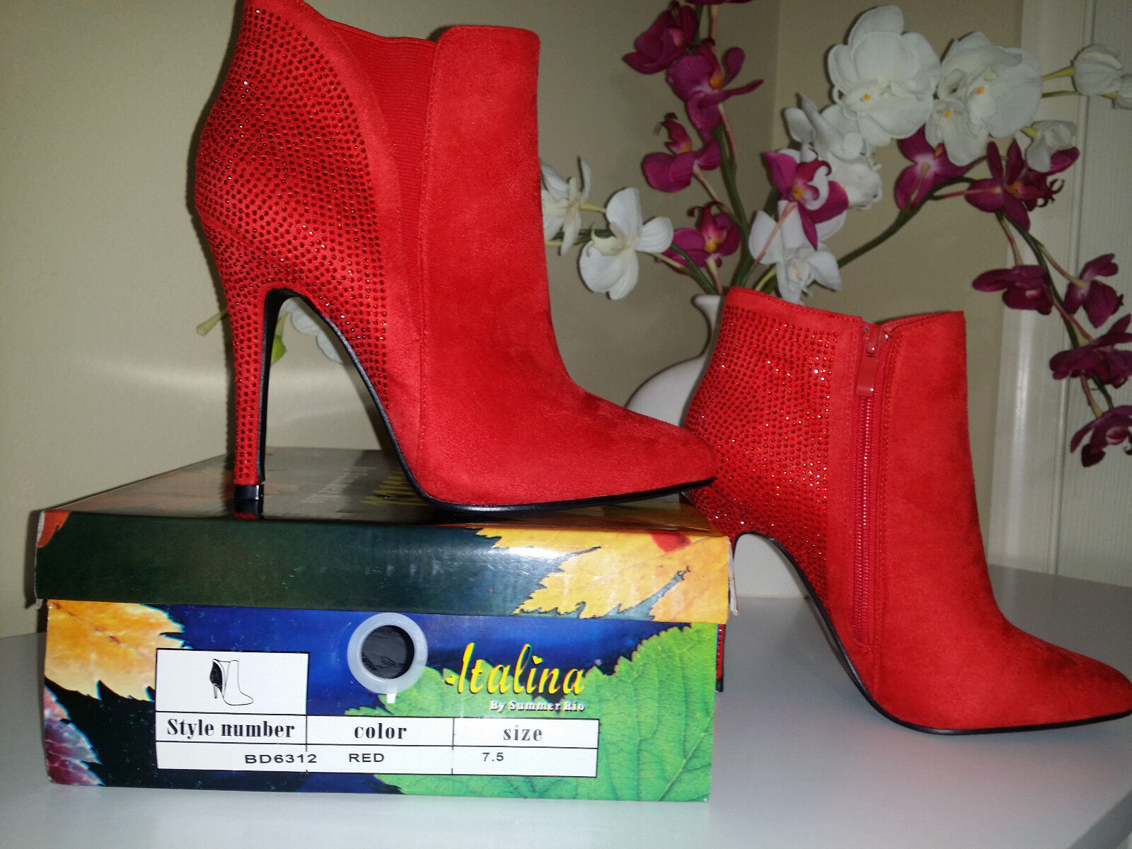 ITALINA By SUMMER RIO BD6312 Red  Rhinestones Suede Stiletto Ankle Boots Sz 7,5