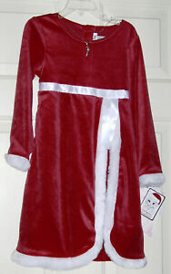Nwt Youngland Red Plush White Fur Trim Ls Christmas Dress