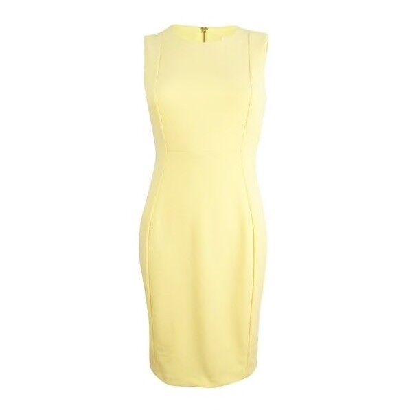 eef198d15b7 Calvin Klein Womens Yellow Sleeveless Mini Wear to Work Dress 10 BHFO 2421  for sale online