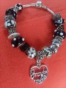 Authentic Pandora Barrel Charm Bracelet W Grandma Or Mom Charms W Box Ebay