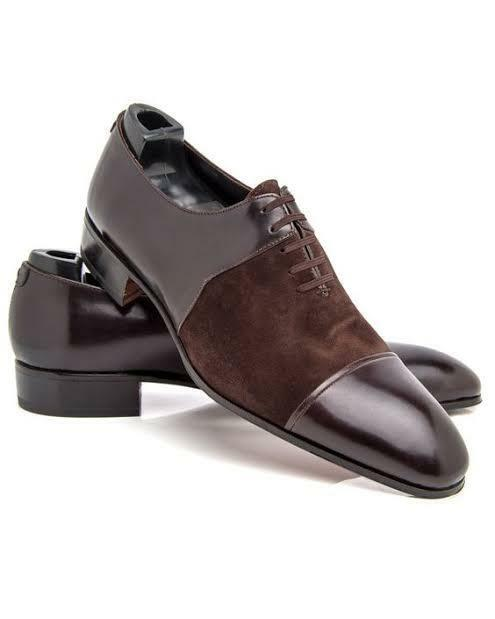 Men Bespoke Handmade Two Tone Brown Leather & Suede Oxford Toe Cap Lace-Up shoes