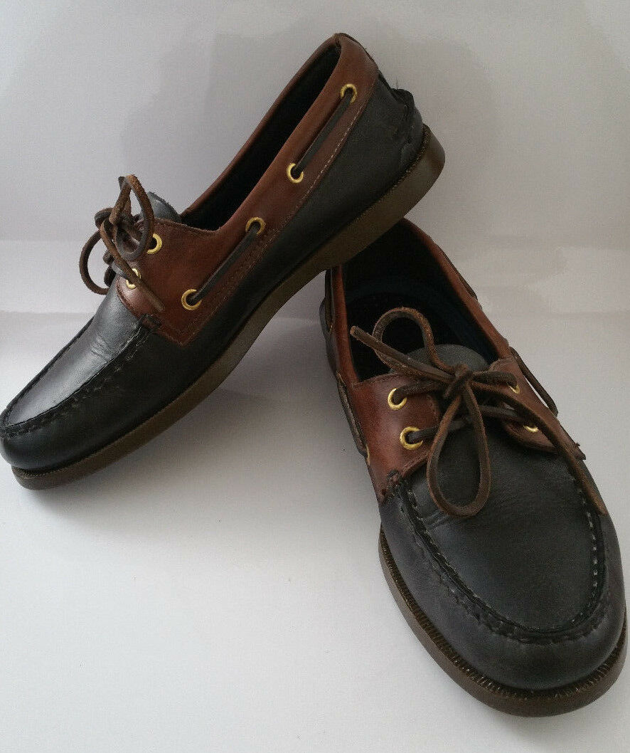 Sperry Top-Sider Mens 7 M Black Brown Leather Boat Deck shoes 0195479 2 Eyelet