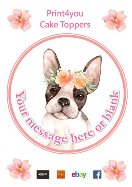 Watercolour Boston Terrier Dog Birthday Personalised Round Cake Topper Icing