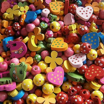 50 Grams Wooden Bead Soup Mix ~ Mixed Sizes/Shapes/Colours~Little Crafty Beaders
