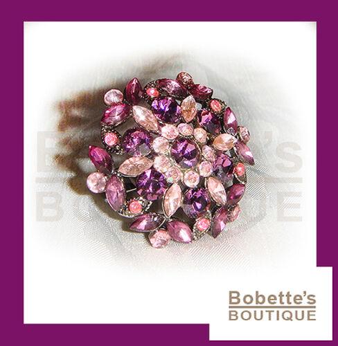 BAGUE BELLE AVON Sertie de Strass Mauves et Roses Anneau Réglable