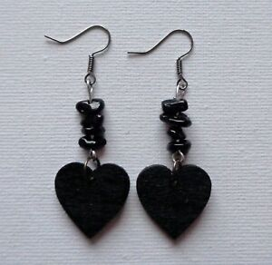 Black-Heart-Earrings-Wood-amp-Tourmaline-Gemstone-Punk-Metal-Goth-Hippie-Emo-Boho