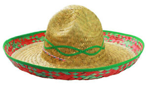 YELLOW SOMBRERO HAT MEXICAN STRAW ACCESSORY HOLIDAY HEN STAG BANDIT FANCY DRESS