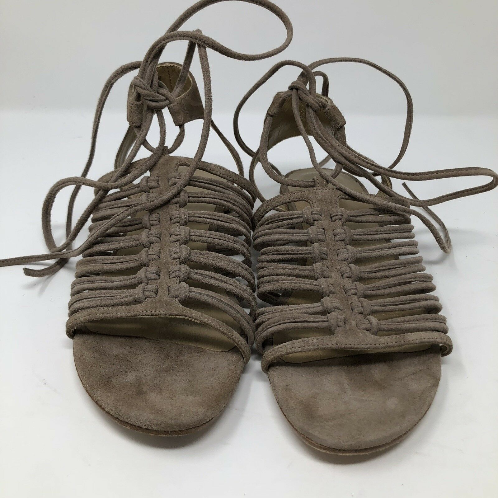 STUART WEITZMAN donna donna donna KNOTAGAIN LACE UP SANDALS Dimensione 7.5 Taupe Marronee Suede  495 0c58f2