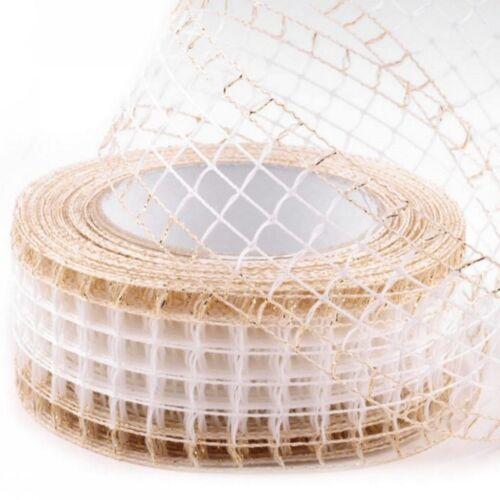 2m Rupfenband Gitterband Lurex steif Schleifenband Juteimitation 44-48mm 0,75€//m