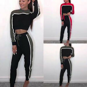 Women Stripe Sport Tracksuit Set Hoodie Sweatshirt Tops Fitness Pants Loungewear