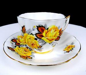 """ROYAL PRINCE #X1338/86 YELLOW ROSES GOLD TRIM 2 5/8"""" FLUTED CUP AND SAUCER SET"""