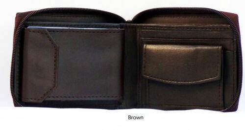 LEATHER BIFOLD WALLET*ZIP AROUND EXTERIOR*COIN CARD /&PHOTO POCKETS