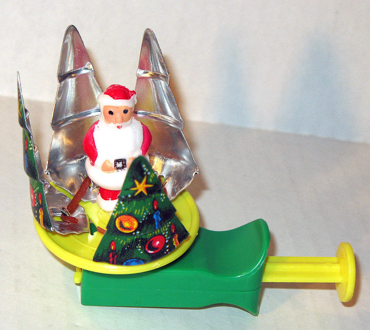 Vintage 1950's TIN LITHO SPINNING Christmas TOY SANTA CLAUS MINT Made in JAPAN