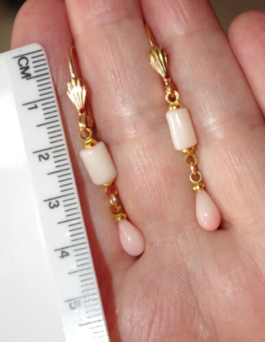 ANGEL SKIN BLUSH CORAL  45 MM DROP 14K GOLD FILLED LEVER BACK EARRINGS AAA