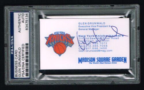 Glen Grunwald Autographe Signé Auto Business Carte New York Knicks G PSA Slabbed