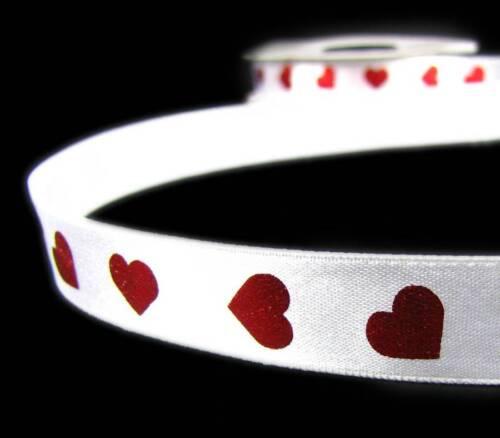 "5 Yds Valentine Metallic Red Hearts White Satin Ribbon 5//8/""W"