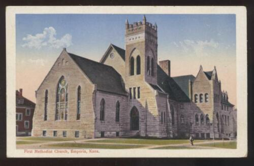 Postcard Emporia KS First Methodist Church view 1907?