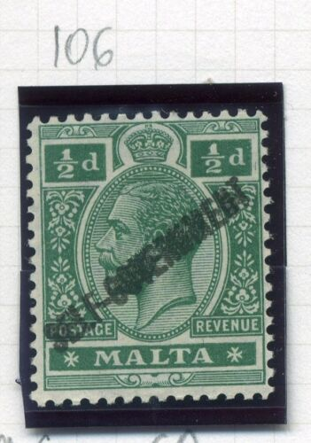 MALTA; 1922 GV issue SELF - GOVT Optd issue Mint hinged 1/2d. value, Shade