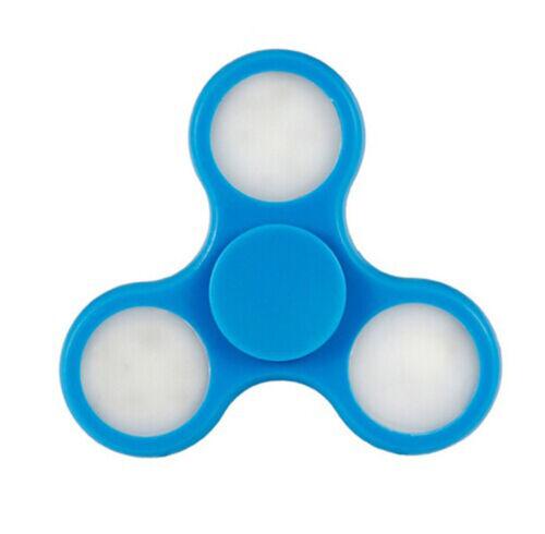 3 LED Light Hand Spinner Fidget Tri-Spinner Finger Gyro Desk EDC ADHD Light blue