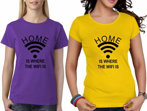 Home Is Where The Wifi Is Girls Short Sleeve TShirt Womens Novelty Top Tees Lot