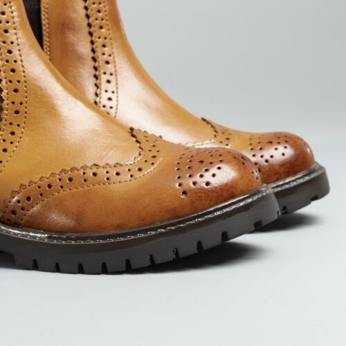 Shuperb HUTCH Kids Boys Leather Brogue Chelsea School Pull On Ankle Boots Tan