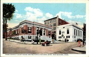 1918-NEW-BEDFORD-MASS-3RD-DIST-COURT-HOUSE-AND-MECHANICS-NATL-B-POSTCARD-KK2