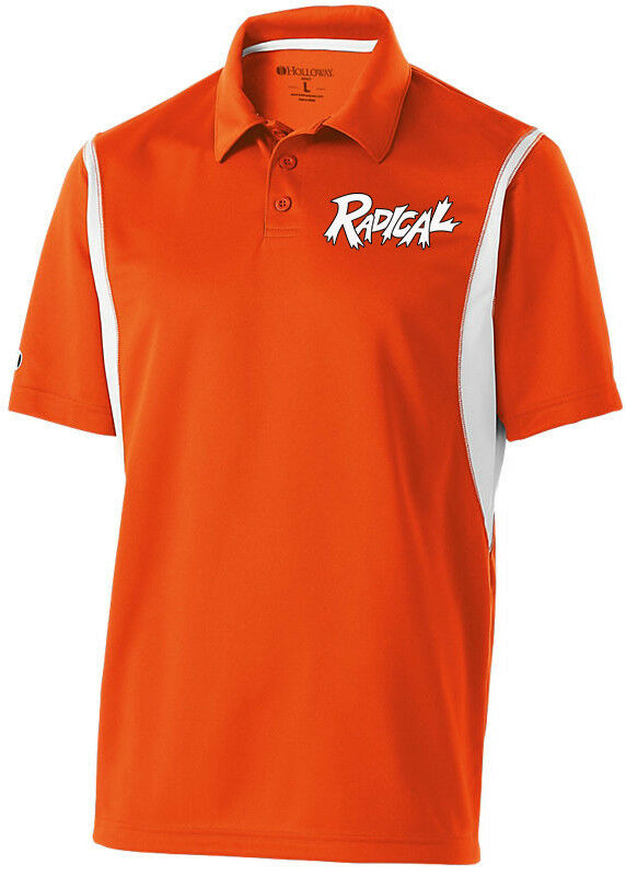 Radical Men's Ridiculous Performance Polo Bowling Shirt Dri-Fit orange White