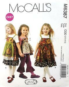McCall-039-s-6387-toddler-girls-dress-pant-skirt-apron-ruffle-pocket-button-size-2-5