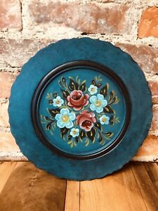 """Vintage Toleware Wood Plate 11.5""""  Plaque Hand Painted Signed Folk Art Tray 70s"""