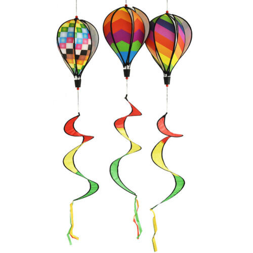 Air Balloon Wind Spinner with Rainbow Stripe Garden Yard Outdoor Decoratio TFSU