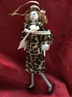 Exceptional Tall Glass Ladies With Elegance Leopard Coat Christmas Ornament